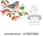 vector wedding card with cute... | Shutterstock .eps vector #670837882