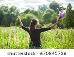 young girl with bunch of... | Shutterstock . vector #670845736