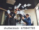 excited businesswoman throwing...   Shutterstock . vector #670847785