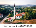 aerial drone view of mosque  in ... | Shutterstock . vector #670851202