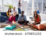portrait of business colleagues ...   Shutterstock . vector #670851232