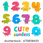 cute funny numbers. adorable... | Shutterstock .eps vector #670858435