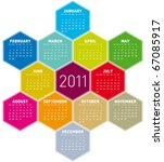 colorful calendar for year 2011 ... | Shutterstock .eps vector #67085917