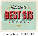 vintage style postcard   world... | Shutterstock .eps vector #670864306