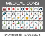 medical thin line icons set.... | Shutterstock .eps vector #670866676