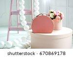 women's pink suitcase | Shutterstock . vector #670869178