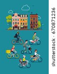 abstract citizens riding their... | Shutterstock .eps vector #670871236