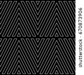 White chevron contour lines on black background. Zigzag image. Seamless surface pattern design with linear ornament. Curves wallpaper. Angle brackets motif. Digital paper with chevrons. Striped vector | Shutterstock vector #670873906