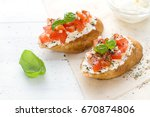 bruschetta with cream cheese ...   Shutterstock . vector #670874806