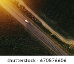 aerial view of lonely car on... | Shutterstock . vector #670876606