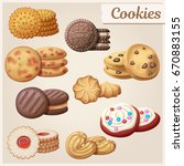 set of 9 delicious cookies.... | Shutterstock .eps vector #670883155