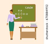 school female teacher chemistry ... | Shutterstock . vector #670884952