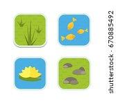 cartoon vector garden pond... | Shutterstock .eps vector #670885492