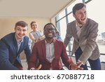 excited business people group... | Shutterstock . vector #670887718