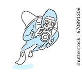 summer sports. scuba diving in... | Shutterstock .eps vector #670891306