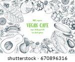 healthy food frame vector... | Shutterstock .eps vector #670896316