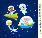 cute little animal astronaut ... | Shutterstock .eps vector #670902232
