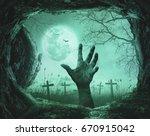 halloween concept  scary hand... | Shutterstock . vector #670915042