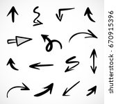 hand drawn arrows  vector set | Shutterstock .eps vector #670915396