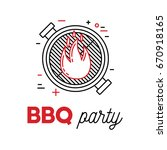 barbecue party with grill and... | Shutterstock .eps vector #670918165