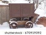 antique old mining cart in... | Shutterstock . vector #670919392