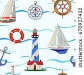 vector pattern with yachts and... | Shutterstock .eps vector #670927432