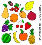 many fresh fruit doodle  sketch ... | Shutterstock .eps vector #670933852