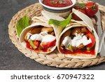 bbq chicken with fresh salad... | Shutterstock . vector #670947322