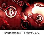 bitcoin currency crisis red... | Shutterstock . vector #670950172