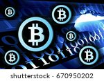 bitcoin currency background... | Shutterstock . vector #670950202