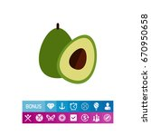 avocado and cut avocado half | Shutterstock .eps vector #670950658