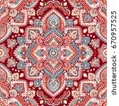 beautiful indian floral paisley ... | Shutterstock .eps vector #670957525