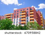 apartment building on blue sky... | Shutterstock . vector #670958842