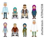senior people set   muslim   Shutterstock .eps vector #670962538