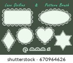 doilies lace ornament set and... | Shutterstock .eps vector #670964626