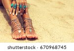woman in relaxation on tropical ... | Shutterstock . vector #670968745