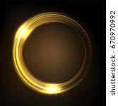rotating yellow light shiny ... | Shutterstock .eps vector #670970992