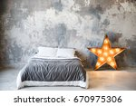bedroom in loft style and gray... | Shutterstock . vector #670975306