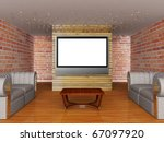 grunge show room with lcd tv | Shutterstock . vector #67097920