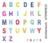 colorful wood alphabet letters... | Shutterstock . vector #670985815