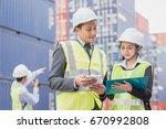 secretary and businessman in...   Shutterstock . vector #670992808