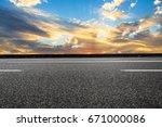 asphalt road and sky cloud...   Shutterstock . vector #671000086
