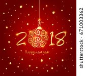 new year card vector... | Shutterstock .eps vector #671003362