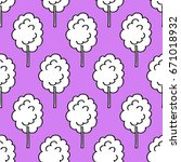 cotton candy seamless doodle... | Shutterstock .eps vector #671018932