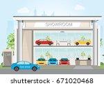 modern car dealership showroom...   Shutterstock .eps vector #671020468