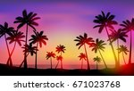 palm trees at sunset | Shutterstock .eps vector #671023768