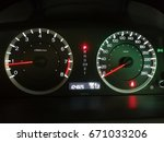 automobil speedometer in white... | Shutterstock . vector #671033206