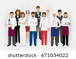 hotel restaurant team concept... | Shutterstock .eps vector #671034022