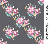 seamless floral pattern with... | Shutterstock .eps vector #671035552