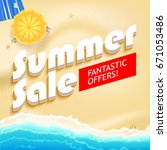 summer sale bright background.... | Shutterstock . vector #671053486